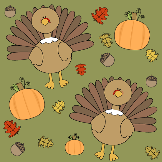 Cute Thanksgiving Turkey Background