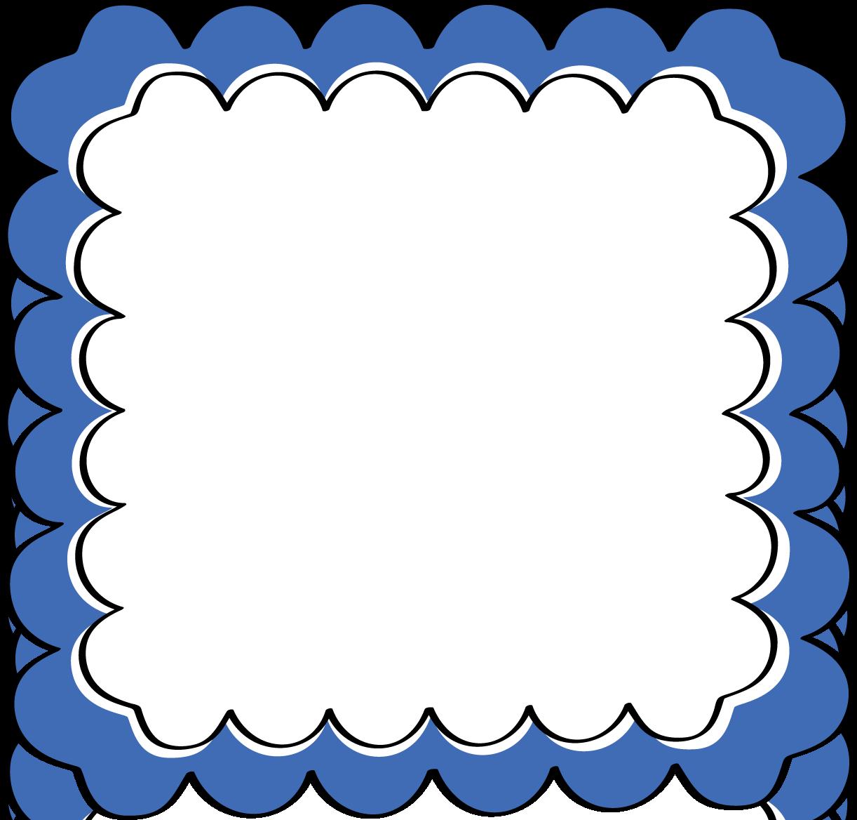 Blue Scalloped Frame - Free Clip Art Frames