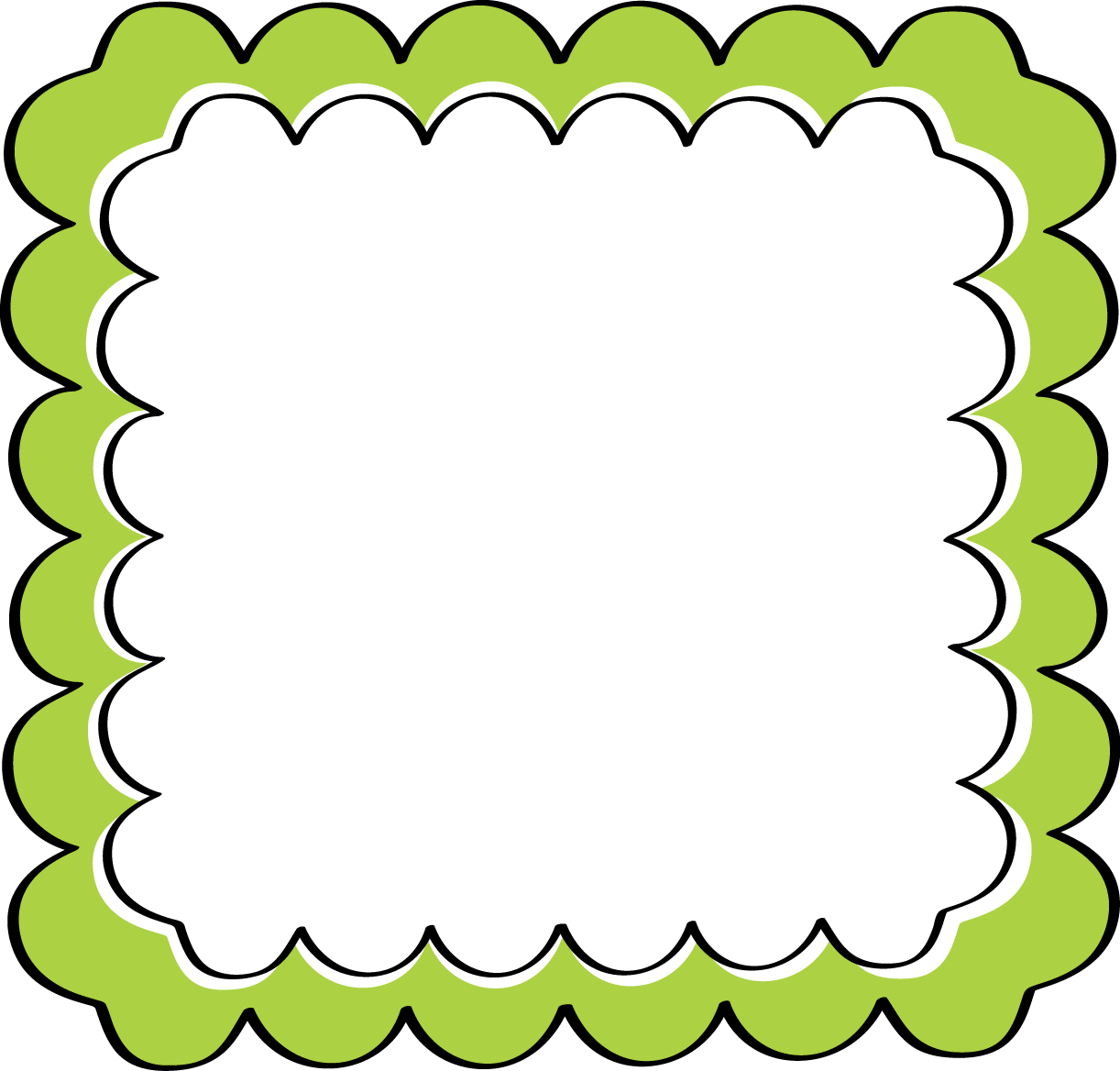 Green Scalloped Frame  green and black scalloped frame with an inner