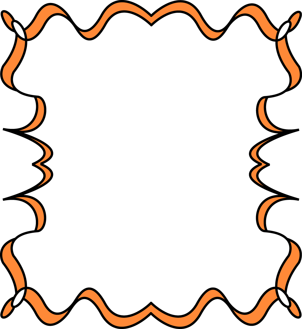 Orange Full Page Zig Zag Border Frame - Free Clip Art Frames