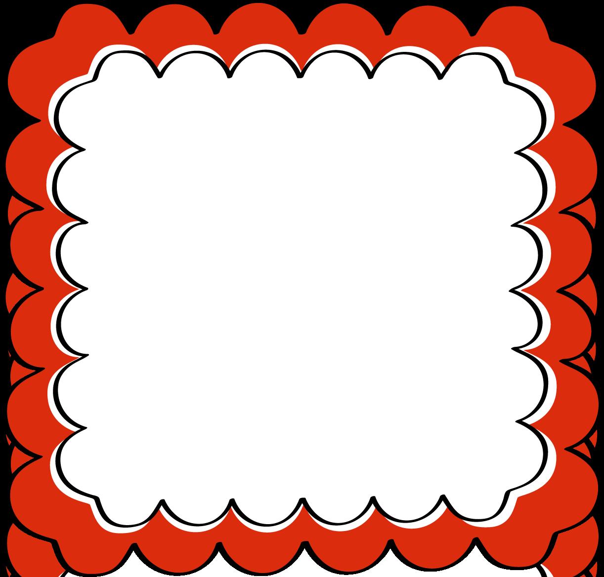 Red Scalloped Frame - Free Clip Art Frames