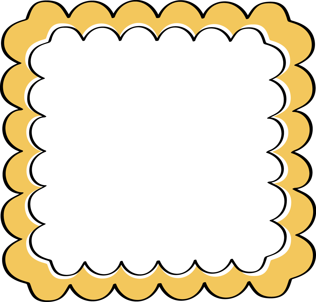 Yellow Scalloped Frame - Free Clip Art Frames