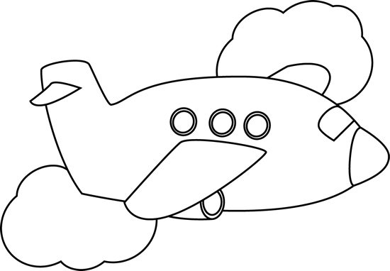 Black and White Airplane Flying Through Clouds