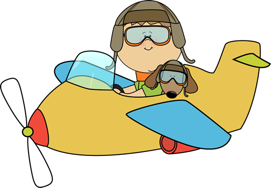 Boy and Dog Flying an Airplane