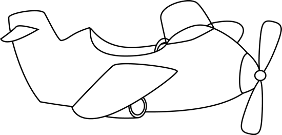 Cute Black and White Airplane