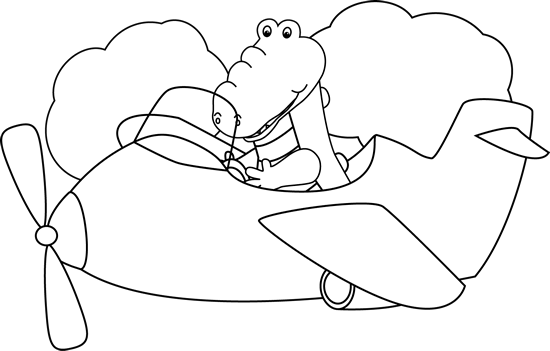 Black and White Alligator Flying an Airplane