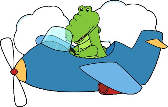 Alligator Flying an Airplane Clip Art - Alligator Flying ...
