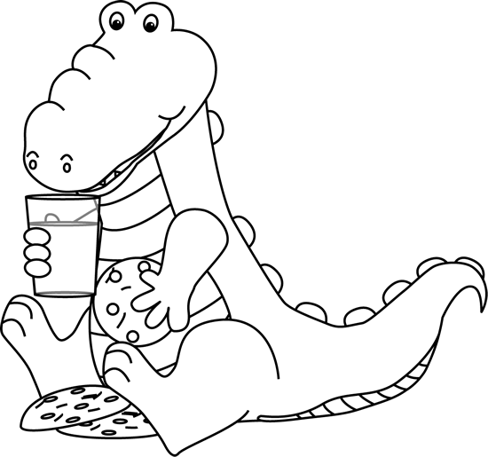 Black and White Black and White Alligator Eating Cookies