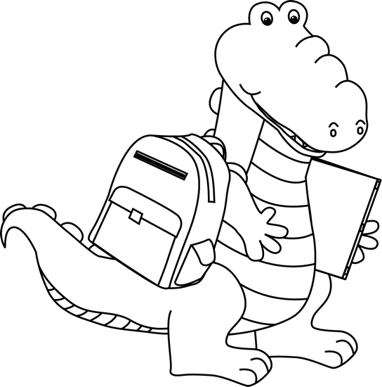 Black and White Black and White Alligator Going to School