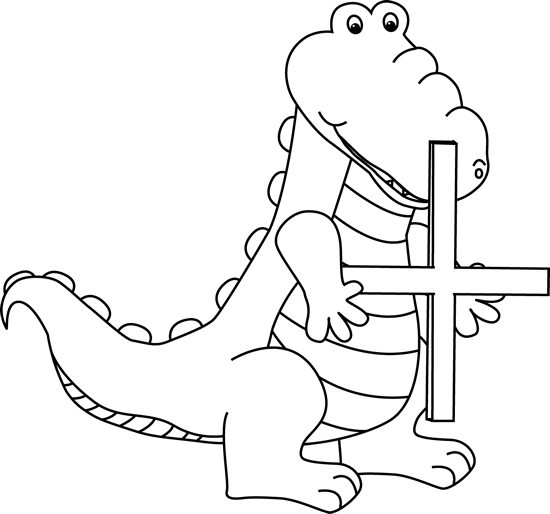 Black and White Alligator Holding an Addition Symbol