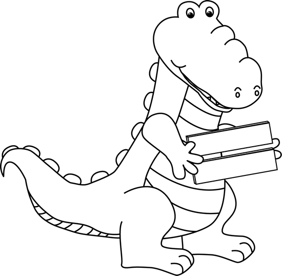 Black and White Alligator Holding an Equal Sign