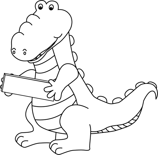 Black and White Black and White Alligator Holding a Subtraction Symbol