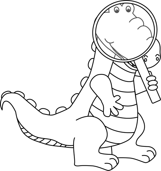 Black and White Alligator Looking Through a Magnifying Glass