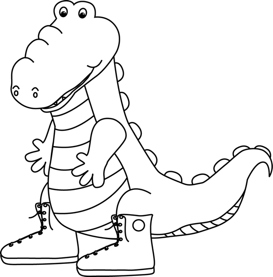 Black and White Alligator Wearing Sneakers