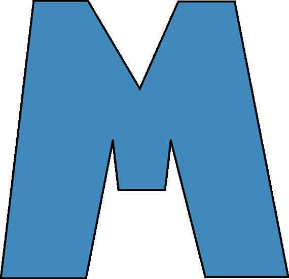 Blue Alphabet Letter M
