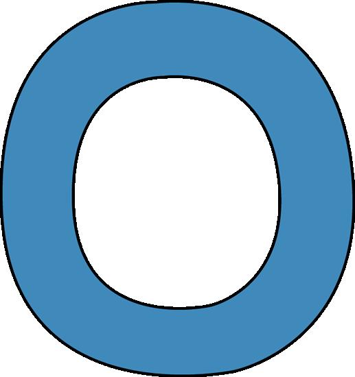 Blue Alphabet Letter O Clip Art Image - large blue capital letter O.