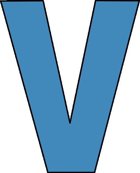 Blue Alphabet Letter V Clip Art - Blue Alphabet Letter V Image