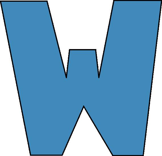 Blue Alphabet Letter W Clip Art Image - large blue capital letter W Letter W Clipart