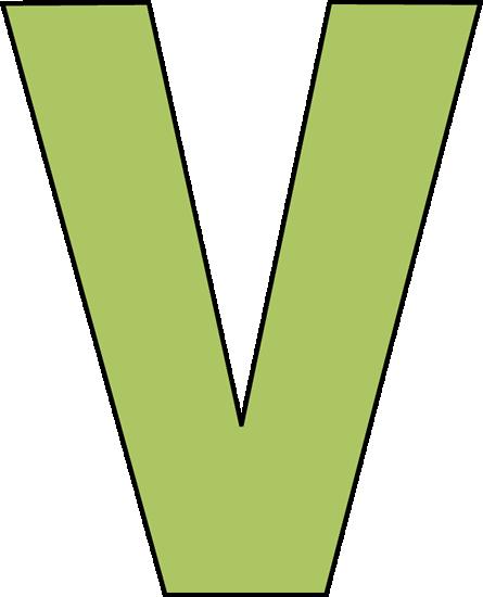 Green Letter V Clip Art - Green Letter V Image