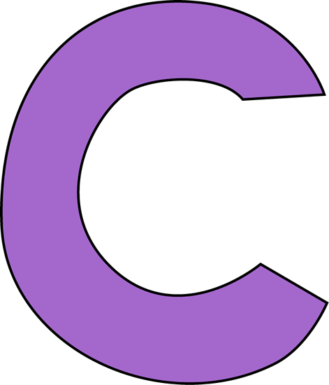 Purple Letter C Clip Art Image - large purple capital letter C.