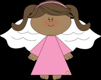 Angel kid. Black clip art image