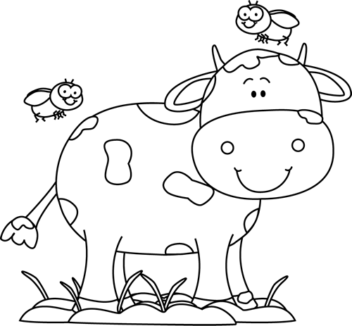 Black and White Cow in the Mud with Flies