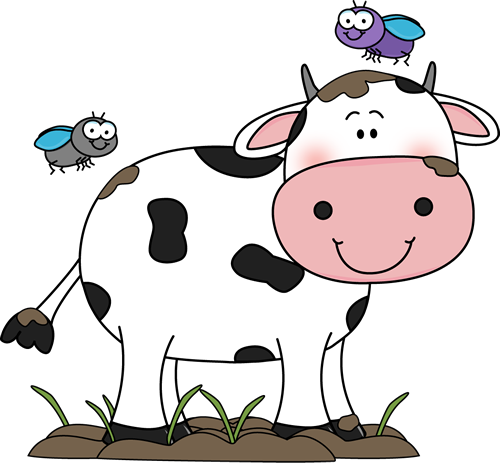 Cow in the Mud with Flies Clip Art - Cow in the Mud with ...