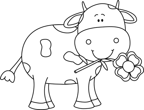 Black and White Cow with a Flower in its Mouth