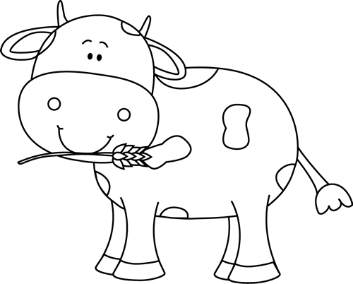 Black and White Cow with Wheat in its Mouth
