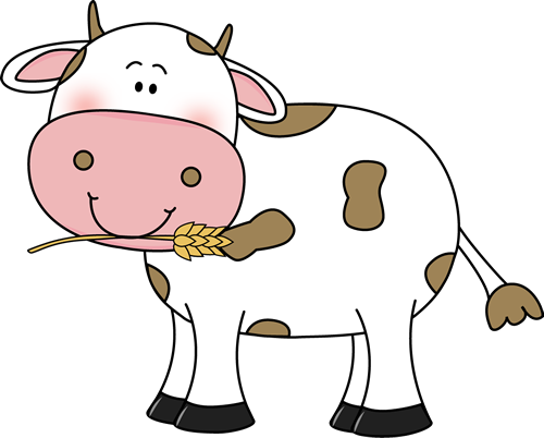 Cow with Wheat in its Mouth Clip Art - Cow with Wheat in ...