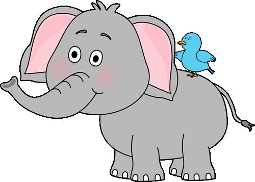 Elephant and Bird Clip Art - Elephant and Bird Image