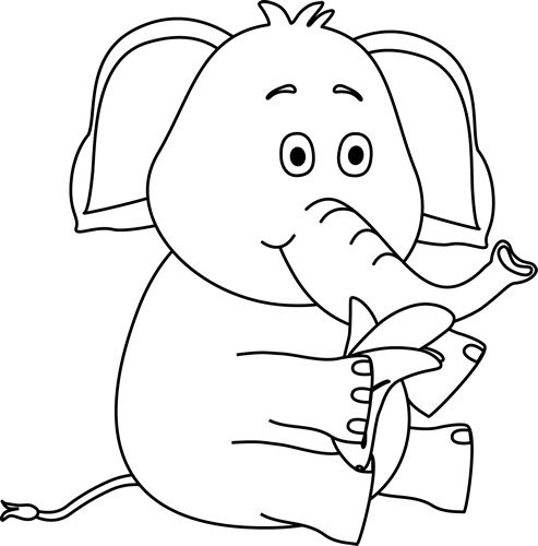 banana clipart black and white. black and white elephant eating a banana clipart