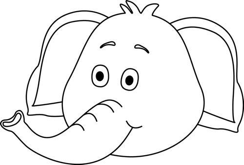 Black and White Elephant Face