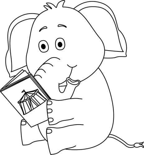 Black and White Elephant Reading Clip Art - Black and ...