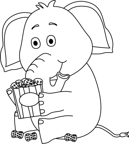 Black and White Elephant with Peanuts
