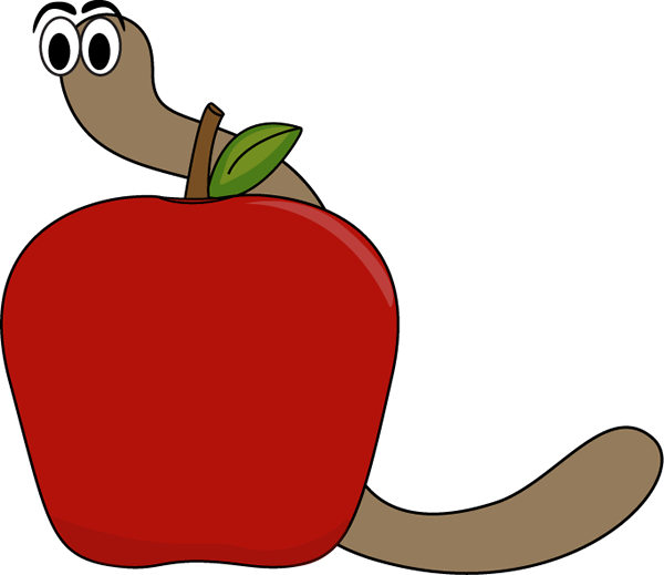 Apple and Worm Clip Art Apple and Worm Image
