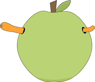 Green Apple and Worm