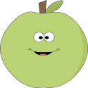 Green Happy Face Apple