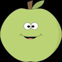 Green Happy Face Apple
