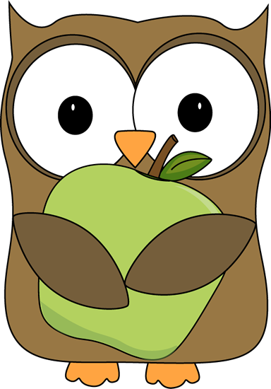 Owl Holding a Green Apple Clip Art - Owl Holding a Green Apple Image