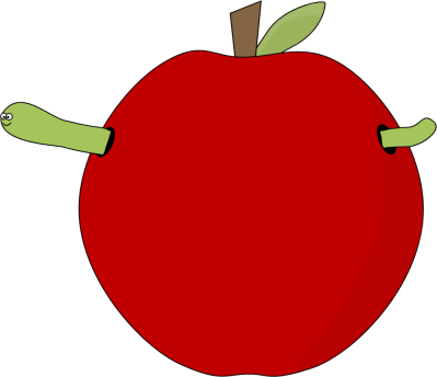 Red Apple and Worm and Worm