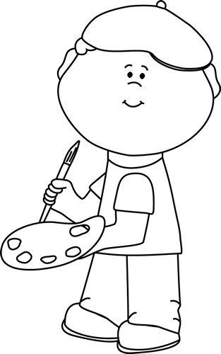 painter clipart black and white