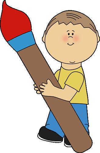 Boy Holding a Giant Paint Brush