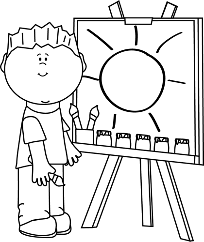 Black and White Boy Painting on an Easel