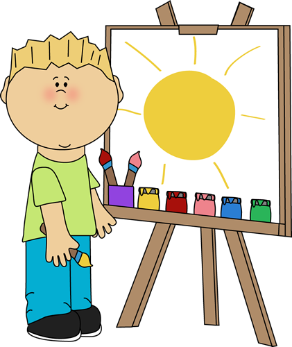 Boy Painting on an Easel