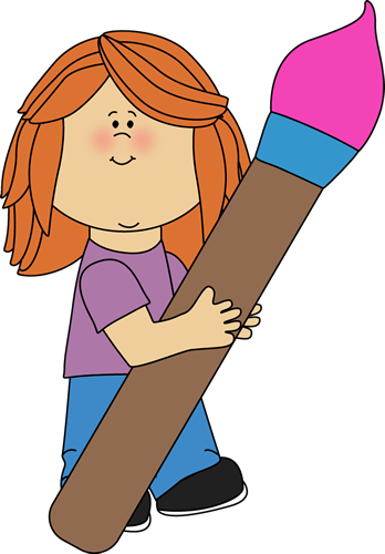 Girl Holding a Giant Paint Brush Clip Art - Girl Holding a ...