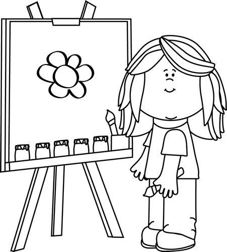 Black and White Girl Painting on Easel