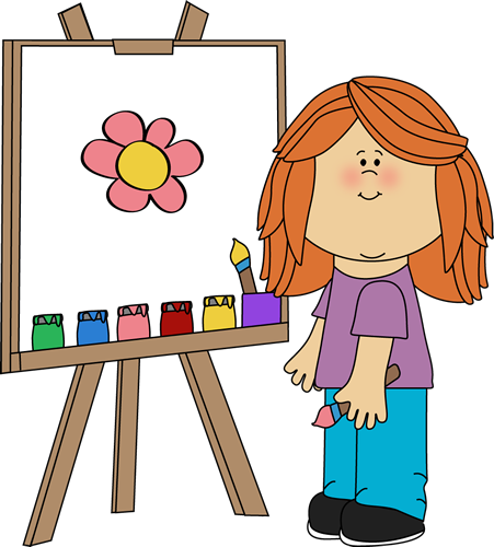 Girl Painting on Easel