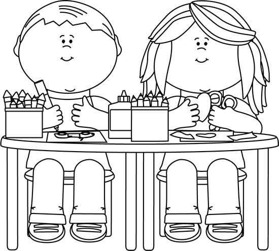 Black And White Kids In Art Class Clip Art Black And White Kids In Art Class Image