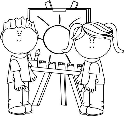 Black and White Kids Painting on Easel Clip Art - Black ...